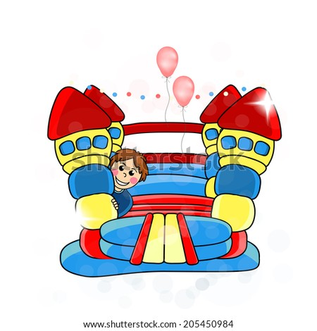 bouncy castle - childrens entertainment  - stock photo