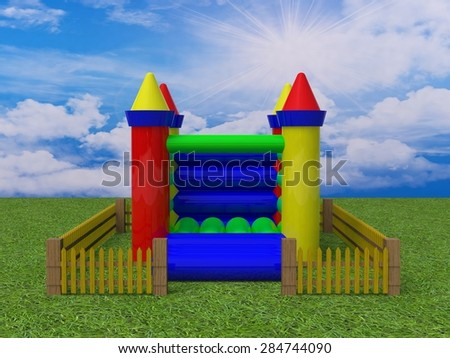 bouncy castle 3d render image - stock photo