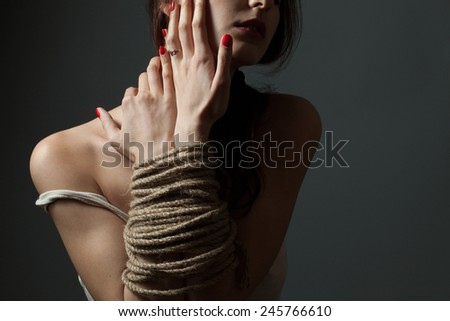 bound girl in studio