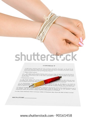 Bound hands and contract isolated on white background - stock photo