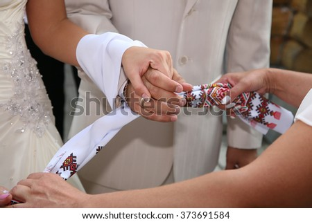 bound together wedding hand towel bride and groom