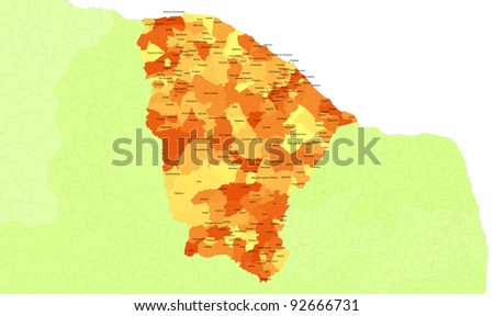 Boundaries of Ceara State - northeast Brazil - stock photo