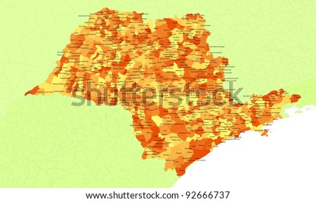 Boundaries of Sao Paulo State - southest Brazil - stock photo