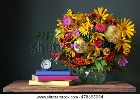 Bouquet and book. Back to school. September 1, knowledge Day. The teacher's day.