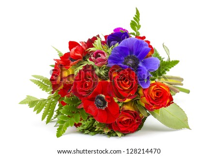 Bouquet Anemones and roses on white background