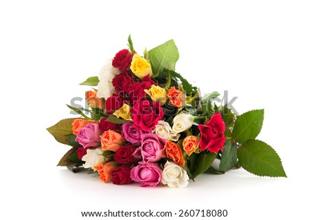 Bouquet colorful roses isolated over white background - stock photo