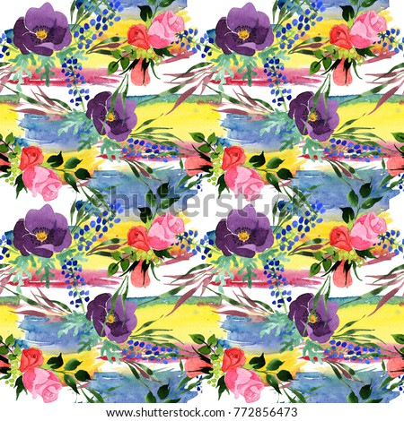 Bouquet flower pattern in a watercolor style. Full name of the plant: rosa, hulthemia. Aquarelle wild flower for background, texture, wrapper pattern, frame or border.
