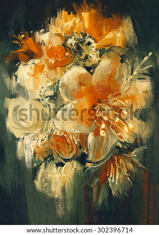 bouquet flowers in oil painting style,illustration - stock photo