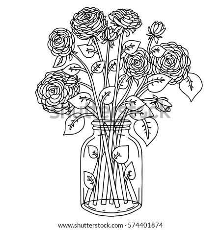 Flower vase outline stock photos royalty free images for How to draw a hard flower