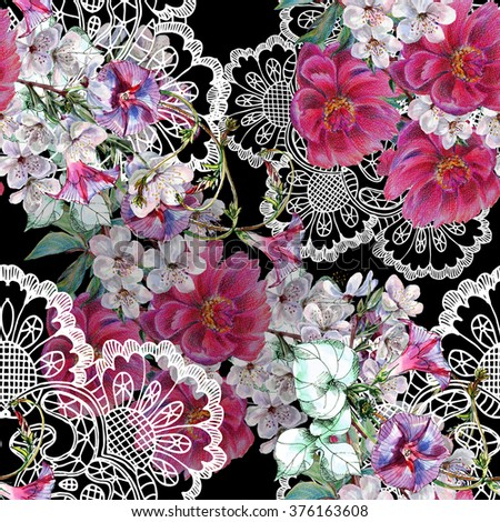 Bouquet flowers, spring, watercolor, openwork, pattern seamless - stock photo