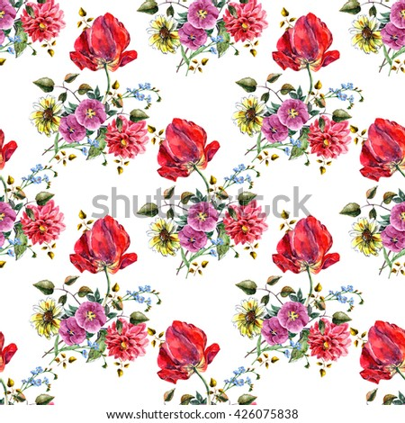 Bouquet flowers with tulip, pattern seamless, watercolor - stock photo