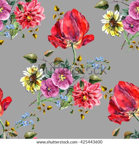 Bouquet flowers with tulip, watercolor, pattern seamless - stock photo