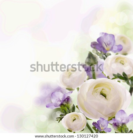 Bouquet from a freesia and water lily on a card - stock photo