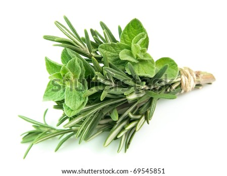 Bouquet from rosemary and oregano on a white background - stock photo