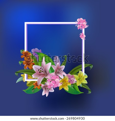 bouquet lilies greeting card for Mother's Day, birthday, wedding.Raster version. - stock photo