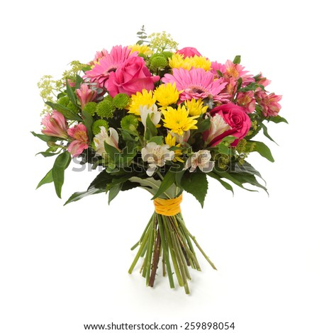 bouquet made of  Alstroemeria, Gerber, Rose and Chrysanthemum flowers isolated on white. - stock photo