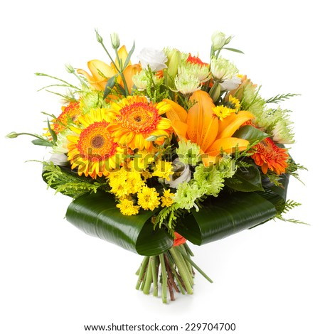Bouquet made of Chrysanthemum, Lily, Gerber and Lisianthus flowers. - stock photo