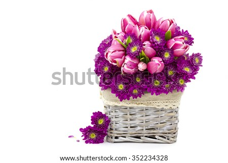 Bouquet made of tulips and chrysanthemum flowers - stock photo