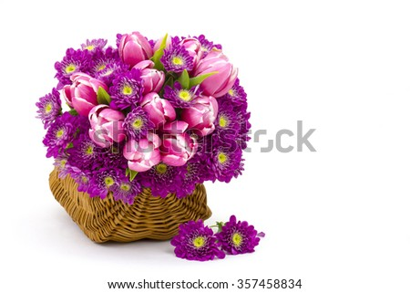 Bouquet made of tulips and chrysanthemum flowers on white background - stock photo