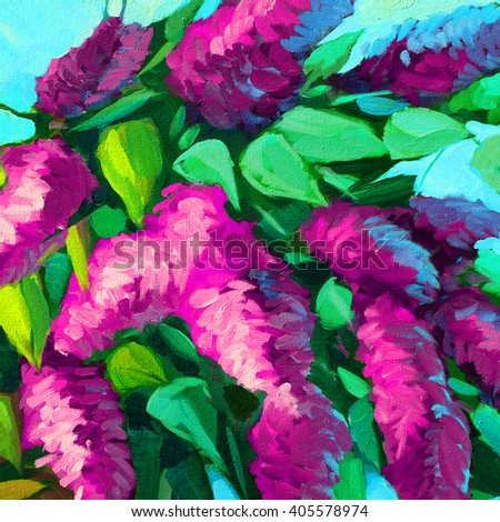 bouquet of a blossoming lilac, illustration, painting - stock photo