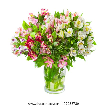 Bouquet of alstroemeria flowers in glass vase isolated over white background