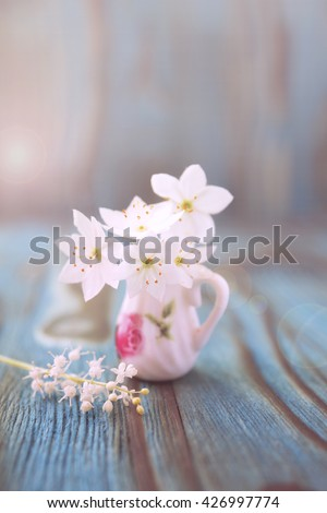 Bouquet of Anemone, windflower in miniature, diminutive jug. Macro close-up photo with soft focus. Rustic colored wooden background, boke effect in summer morning - stock photo