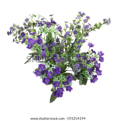 bouquet of artificial small violet flowers isolated on white background
