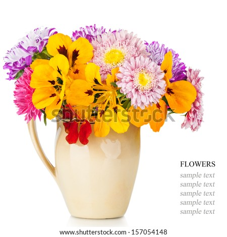 Bouquet of aster flowers in  pot isolated on white background - stock photo