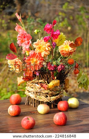 bouquet of autumn flowers in garden - stock photo
