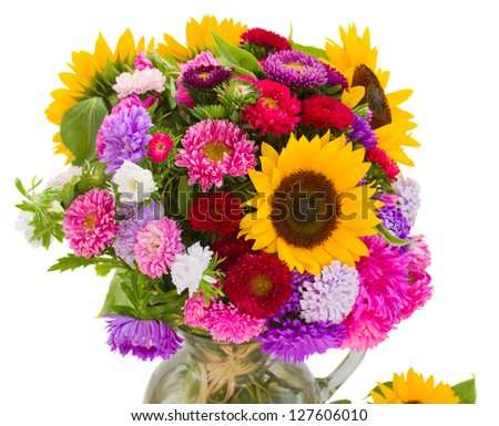 bouquet of autumn flowers  isolated on white background - stock photo