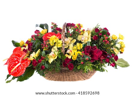 Bouquet of beautiful flowers for catalog on a white background