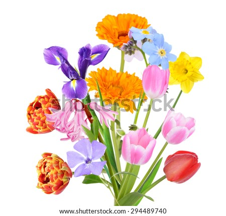 Bouquet of beautiful flowers isolated on white - stock photo
