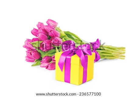 Bouquet of beautiful fresh pink tulips, spring, easter flowers. Greeting card. Isolated, over white background - stock photo