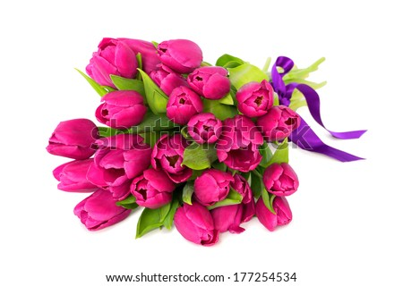 Bouquet of beautiful fresh pink tulips, spring, easter flowers. Over white background, with copy space, isolated. - stock photo