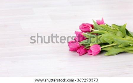 Bouquet of beautiful pink tulips. On March 8, Mother's Day, International Women's Day - stock photo