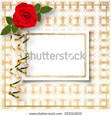 Bouquet of beautiful red roses with the invitation or congratulation on the white paper - stock photo