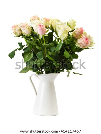 bouquet of   beautiful  roses in a vase, isolated on a white