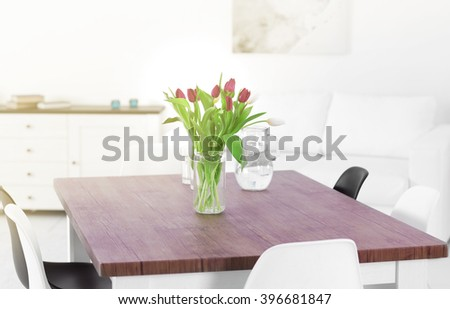 Bouquet of beautiful tulips on the table, close up