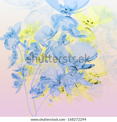 bouquet of blue orchids on pink background  - stock photo