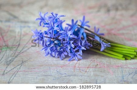 Bouquet of blue spring flowers on a painted board pencils stock
