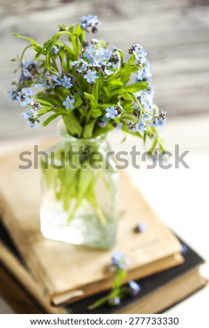 Bouquet of blue wild forget-me-not flowers. Selective focus. Shallow depth of field. - stock photo