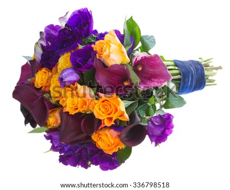 Bouquet of calla lilly, roses and eustoma flowers  isolated on white background - stock photo