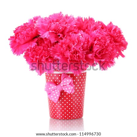 Bouquet of carnations in a vase isolated on white - stock photo