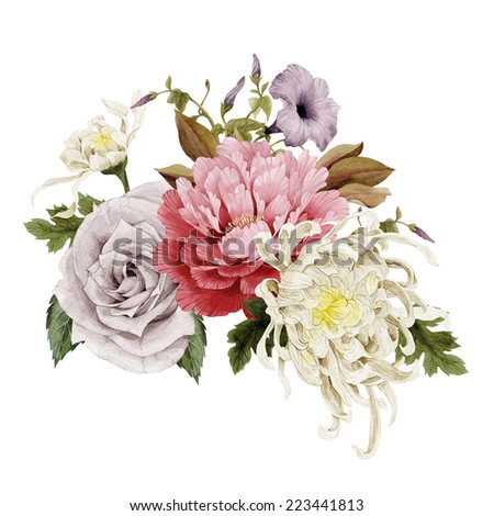 Bouquet of chrysanthemum, convolvulus and peonies, watercolor, can be used as greeting card, invitation card for wedding, birthday and other holiday and  summer background