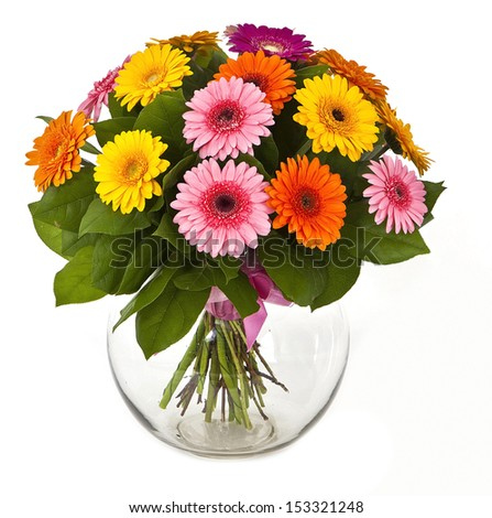 bouquet of colored gerberas in vase isolated on white background - stock photo