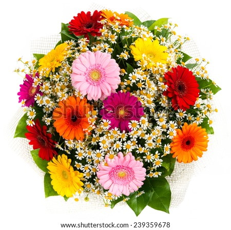 Bouquet of colorful gerberas and daisies isolated on white background  - stock photo