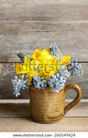 Bouquet of daffodils and blue muscari (Grape hyacinth), copy space - stock photo