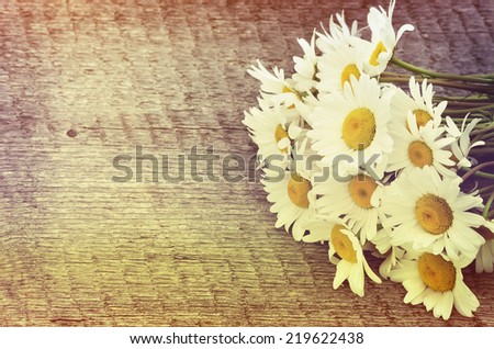 Bouquet of daisies on the board in vintage style - stock photo
