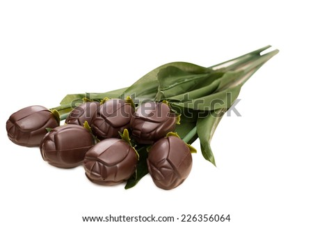 Bouquet of dark chocolate roses, isolated on white - stock photo