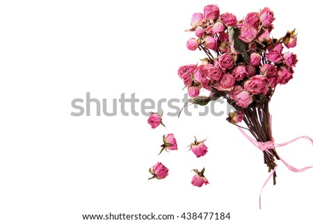 Bouquet of dry rose and buds.Tea rose.Isoalted - stock photo